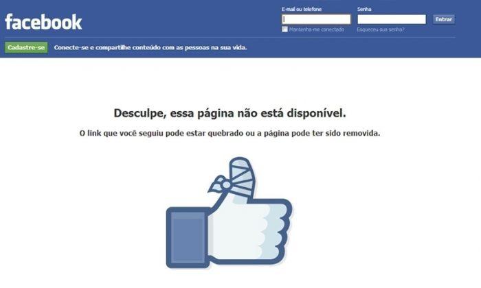 Por que minha Páginas do Facebook foi tirada do ar